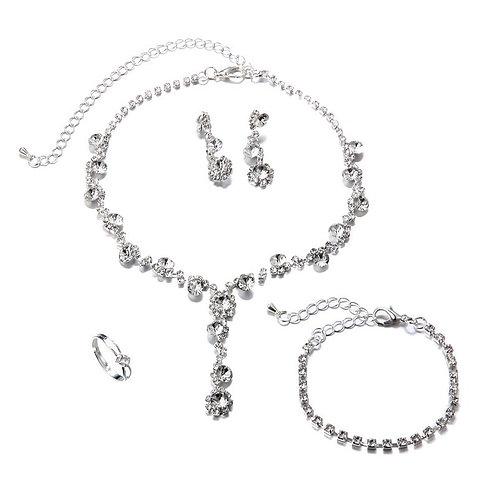 Silver Crystal 4pc Jewellery Set