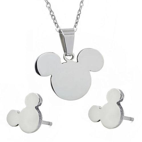Silver Mickey Necklace & Earrings Set