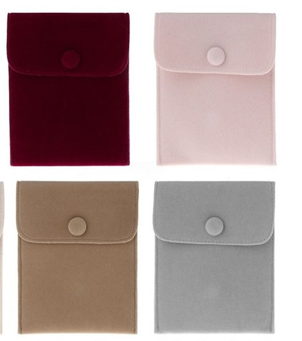 Small One Button Velvet Pouch