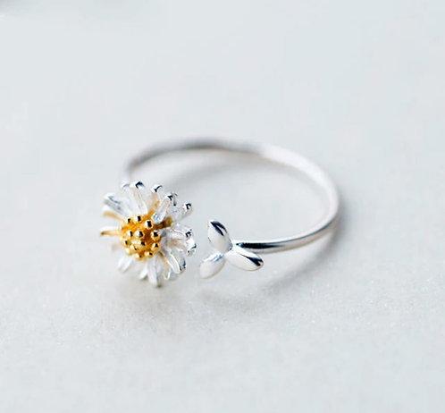 Silver Daisy Petal Adjustable Ring