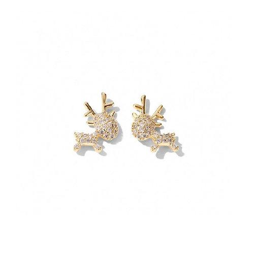 Gold Reindeer Stud Earrings