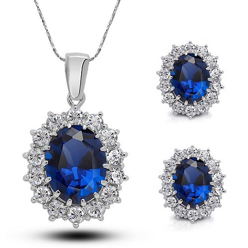 Blue Crystal Necklace & Earring Set