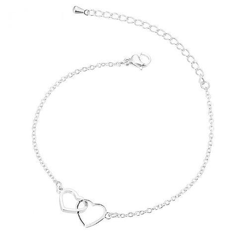 Silver Double Hearts Bracelet