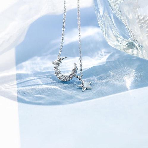 Silver Star & Moon Bracelet