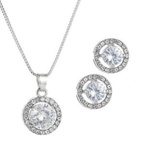 Silver Crystal Earrings & Necklace Set