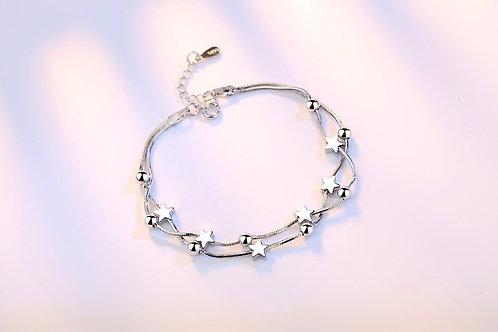 Silver Star & Beads Bracelet
