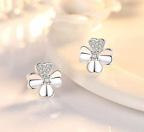 Silver Crystal Daisy Stud Earrings
