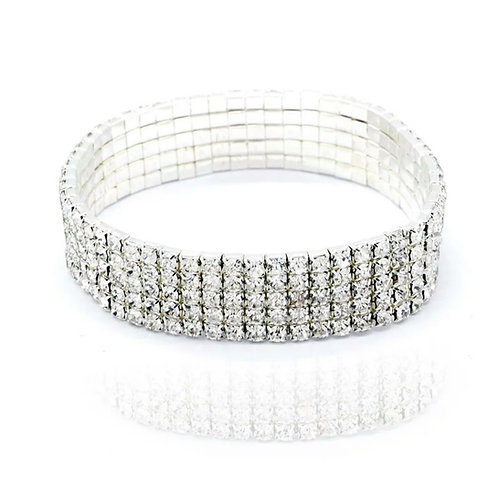 5 Row Silver Crystal Anklet
