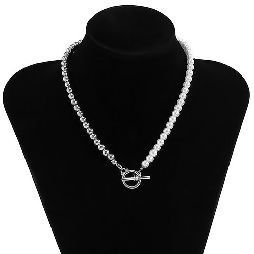 Silver & Pearls Necklace (Plastic)