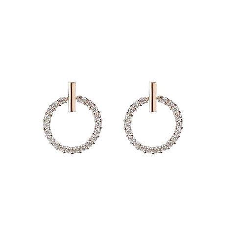 Silver Hooped Stud Earrings