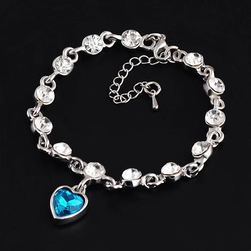 Silver Tanzanite Crystal Chain Bracelet