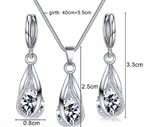Silver Droplet Necklace & Earrings Set