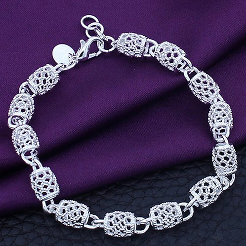 Silver Hollow Chain Bracelet