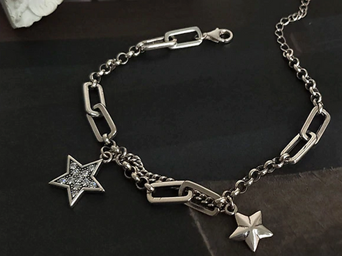 Silver Stars Charm Bracelet