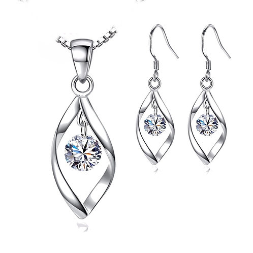 Silver Droplets Necklace & Earring Set