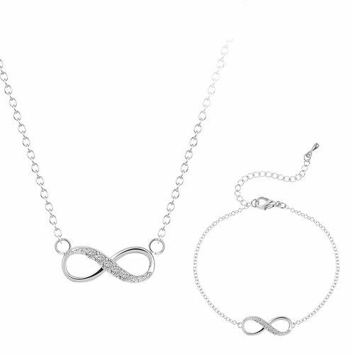 Infinity Crystal Bracelet & Necklace set