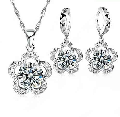 Silver Flower Earring & Necklace Set