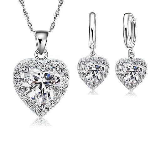 Silver Heart & Heart Earrings Set