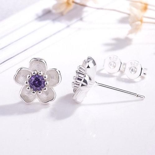 Crystal Silver Flower Stud Earrings