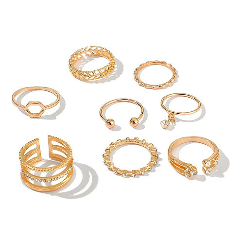 8pcs Bohemian Rings Set