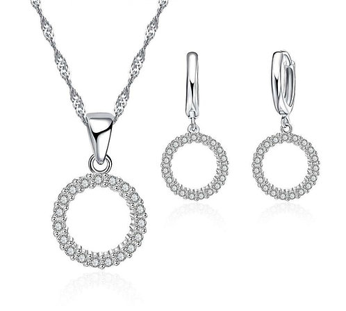 Circular Crystal Necklace & Earrings Set