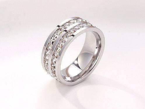 Double Crystal Titanium Ring