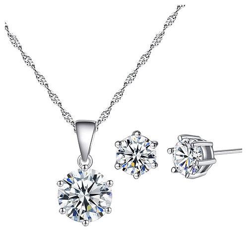 Crystal Circular Necklace & Earrings Set