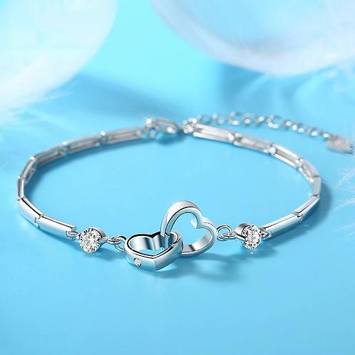 Silver Crystal Heart Charm Bracelet