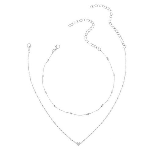 Silver Heart Necklace 2pc