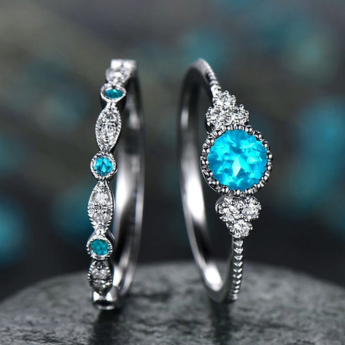 Aqua Blue Double Crystal Ring