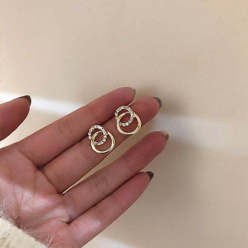 Crystal & Gold Circular Earrings