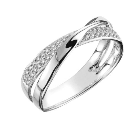 Silver Double Cross Over Ring