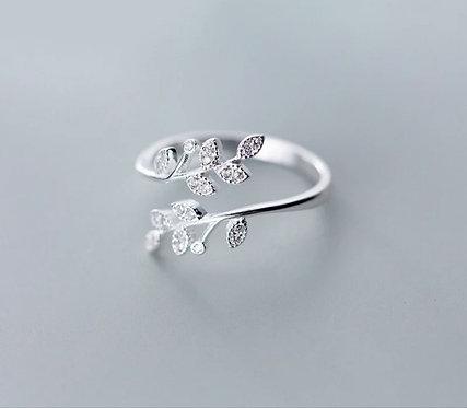 Silver Crystal Leaf Adjustable Ring