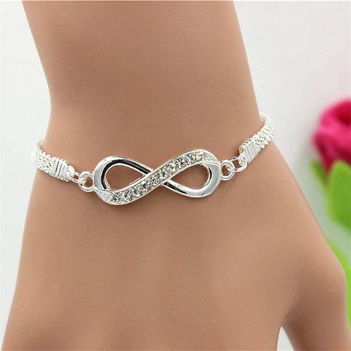 Silver Crystal  Infinity Bracelet