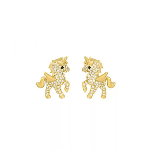 Gold Unicorn Studs