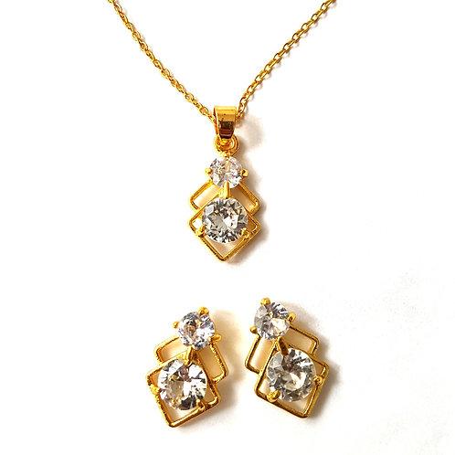 Gold 2pc Elegant Necklace & Earrings Set