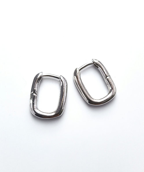 Silver Square Hooped Earrings