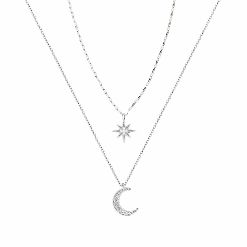 Double Star & Moon Silver Necklace