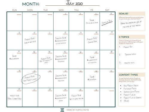 Hustle MKTG's Downloadable Social Media Content Calendar