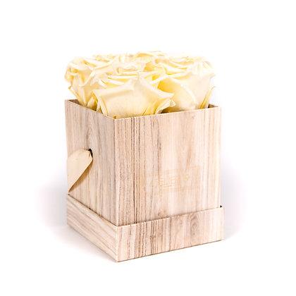 4 Eternal Roses - Champagne - Light Wood square Box