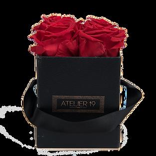 4 Roses Eternelles Rouge Passion - Box carrée Noire