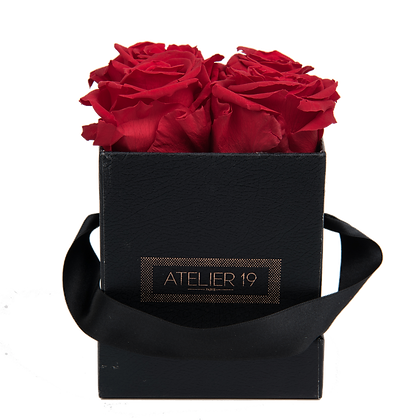 CLASSIC 4 ETERNAL ROSES - PASSION RED - BLACK SQUARE BOX