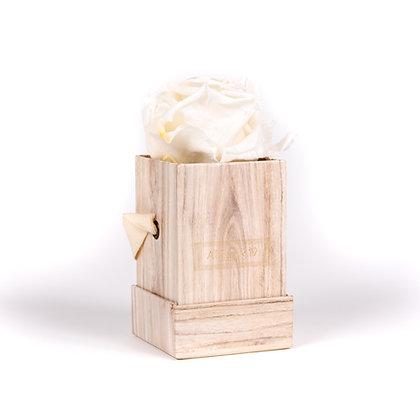 1 Rose Eternelle Blanc Pur - Box carrée Bois Clair