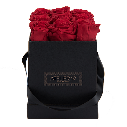 PLUS 9 ETERNAL ROSES - PASSION RED - BLACK SQUARE BOX
