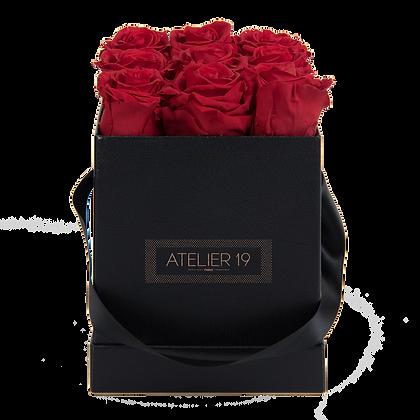9 Roses Eternelles Rouge Passion - Box carrée Noire