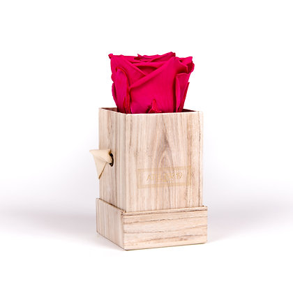 1 Rose Eternelle Fuchsia Peps - Box carrée Bois Clair
