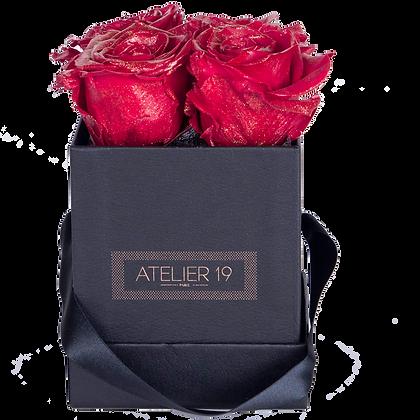 4 Roses Eternelles Rouge pailleté - Box carrée Noire