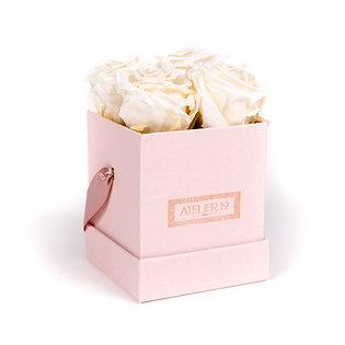 4 Roses Eternelles Blanc Pur - Box carrée Rose Poudré