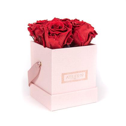 4 Roses Eternelles Carmin Intense - Box carrée Rose Poudré