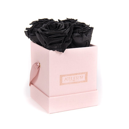 4 Eternity Roses - Deep Black - Powder Pink square Box